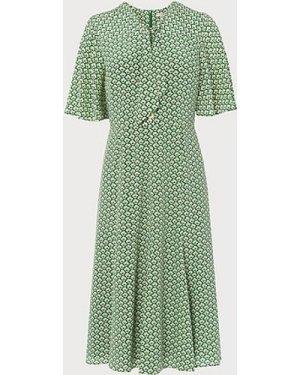 Piaf Block Print Silk Dress, Green