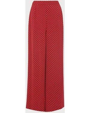 Zazou Polka Dot Print Wide Trousers, Red Multi