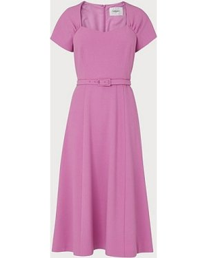 Emmy Lilac Crepe Belted Dress, Lilac