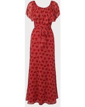 Clara Poppy Print Beaded Maxi Silk Dress, Poppy