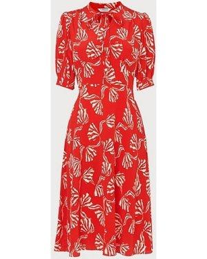Marceau Red Bow Print Silk Dress, Red Multi