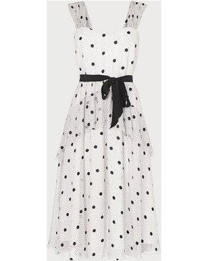 Lottie Monochrome Spot Print Tiered Dress, Multi