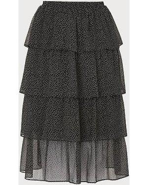 Betty Black Crinkle Spot Tiered Skirt, Black Cream