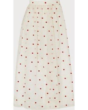 Glinda Cream & Red Spot Embroidered Silk Organza Skirt, Multi