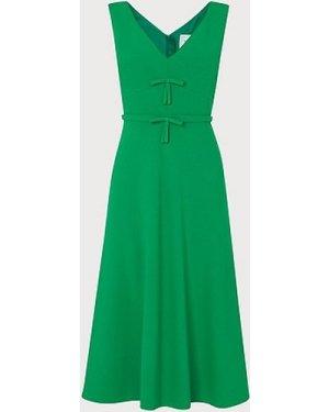 Willow Green Crepe Bow Detail Midi Dress, Emerald