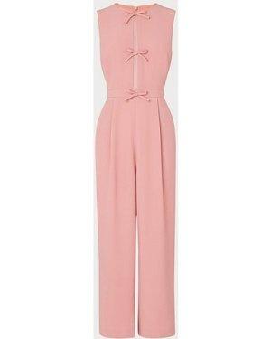 Summer Pink Crepe Bow Detail Jumpsuit, Rose