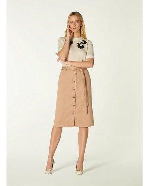 Sussex Beige Cotton Button-Through Skirt, Beige