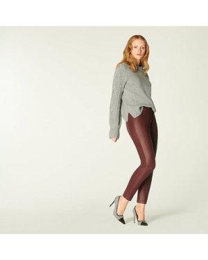 Hollie Burgundy Leather Leggings, Burgundy