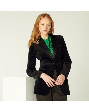 Maria Black Velvet Tuxedo Jacket, Black