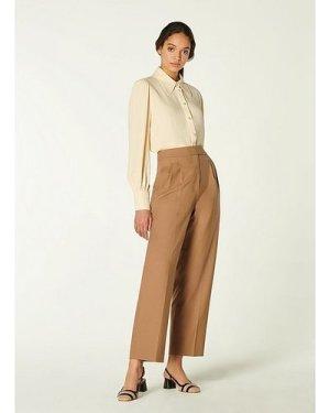 Lowe Camel Wool-Blend Pleat Front Trousers, Camel