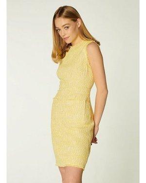 Amalia Yellow Tweed Shift Dress, Yellow