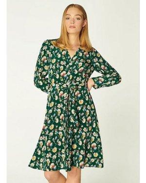 Christy Green Anemone Print Silk Dress, Evergreen