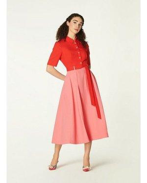 Dovima Colour Block Cotton Shirt Dress, Multi