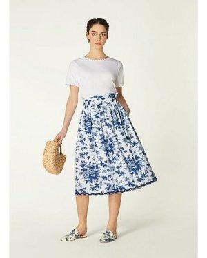 Hodgkin Toile de Jouy Print Cotton Skirt, Blue White