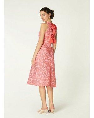 Annabel Pink Floral Jacquard Bow Back Dress, Pink