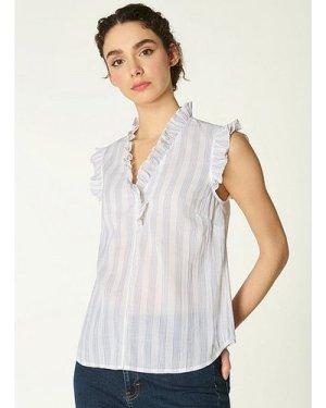 Gwen White and Blue Stripe Crinkle Cotton Top, Whi Blu