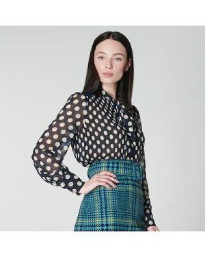 Cora Navy & Cream Spot Print Pleated Blouse, Cream