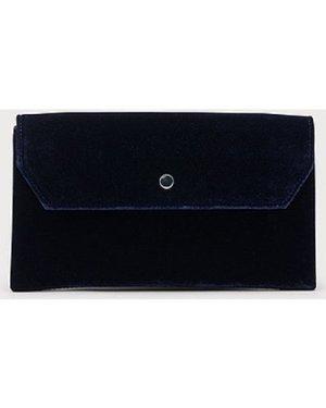 Dora Navy Velvet Envelope Clutch, Navy