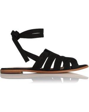 Selma Black Suede Flat Sandals, Black