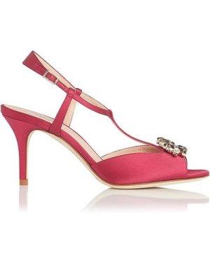 Yvette Raspberry Satin Sandals, Raspberry