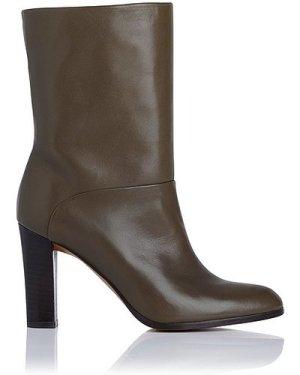 Rory Khaki Leather Ankle Boots, Dark Khaki
