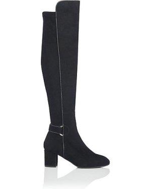 Amba Black Stretch Suede Knee Boots, Black