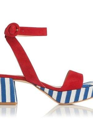 Alie Blue White Suede Sandals, Blue White