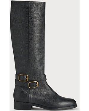 Brogan Black Leather Knee Boots, Black