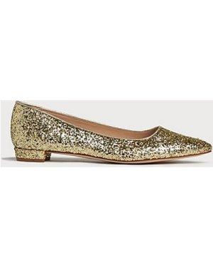 Jacquelin Gold Glitter Flats, Gold