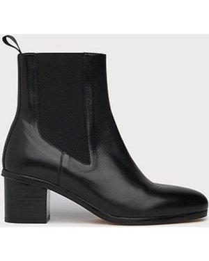Laurela Black Leather Ankle Boots, Black
