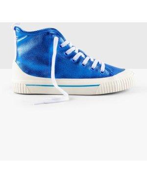 hush metallic-blue Skye Hi Top Trainers Blue
