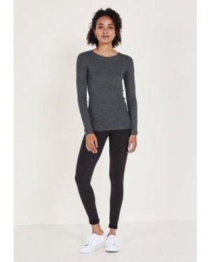 hush charcoal-marl Long Sleeved Cotton T-Shirt Charcoal Marl
