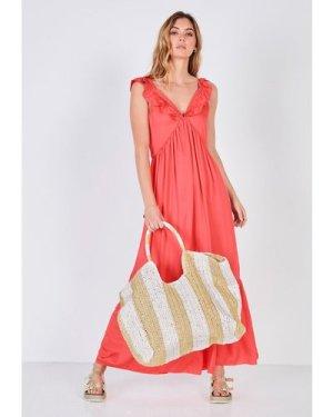 hush coral Frances Frilled Dress Coral