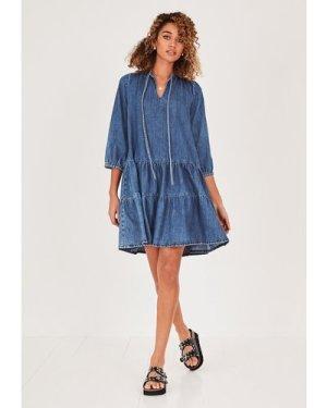 hush blue-denim Fernie Denim Smock Dress Blue denim