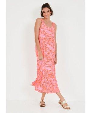 hush paisley-orange-pink Avner Printed Midi Dress Pink/orange