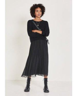 hush graphite Mavis Pleated Midi Skirt Black