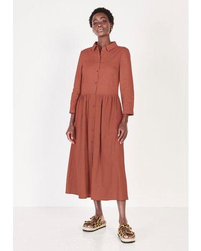 hush canyon-rose Shani Linen-Blend Midi Dress Tan