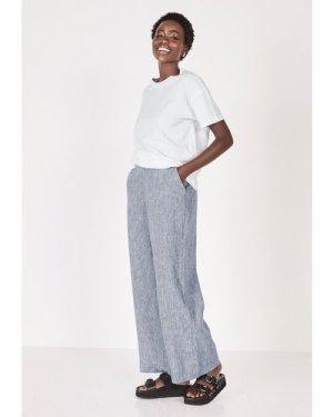 hush blue-grey Wide Leg Linen Trousers Blue Grey