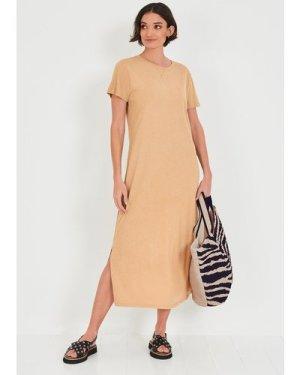 hush sand Linen-Blend T-Shirt Dress Sand