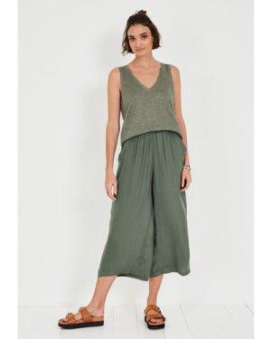 hush khaki-green Leona Metallic Knit Vest Khaki Green