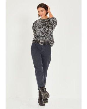 hush grey-true-leopard Oversized Leopard Sweatshirt Leopard