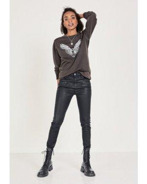 hush black-ecru Eagle Oversized Sweatshirt Washed Black