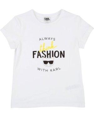 Cotton jersey T-shirt KARL LAGERFELD KIDS KID GIRL