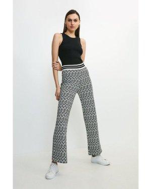 Karen Millen Graphic Jacquard Knit Trouser -, Blackwhite