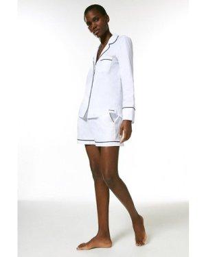 Karen Millen Cotton Stripe Revere Nightwear Top -, White