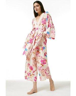 Karen Millen Floral Nightwear Wrap -, Cream