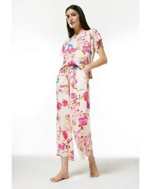Karen Millen Floral Nightwear Jersey Back Top -, Cream