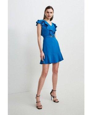 Karen Millen Compact Stretch Viscose Ruffle Dress -, Blue