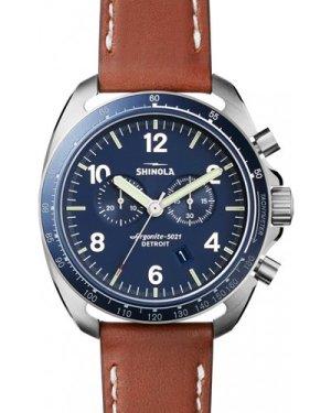 Mens Shinola Rambler Tachymeter Chrono 44mm Tan Leather Strap Watch S0120007929