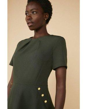 Womens Button Detail Skater Dress